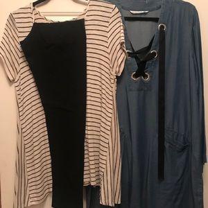 Trio - ss tunic, denim dress, black leggings